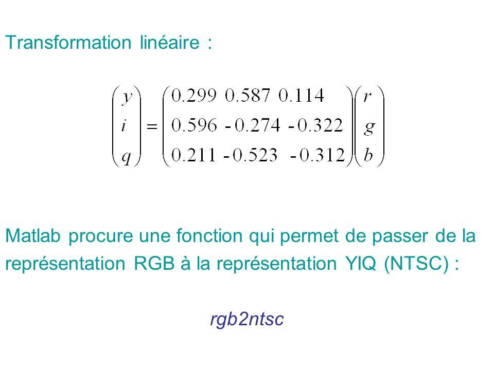 Transformation linéaire : Matlab procure une fonction qui permet de passer de la représentation RGB à la représentation YIQ (NTSC) : rgb2ntsc