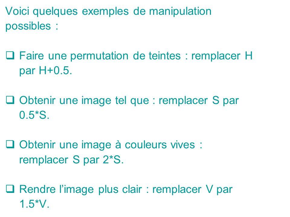 Voici quelques exemples de manipulation possibles : Faire une permutation de teintes : remplacer H par H+0.5.