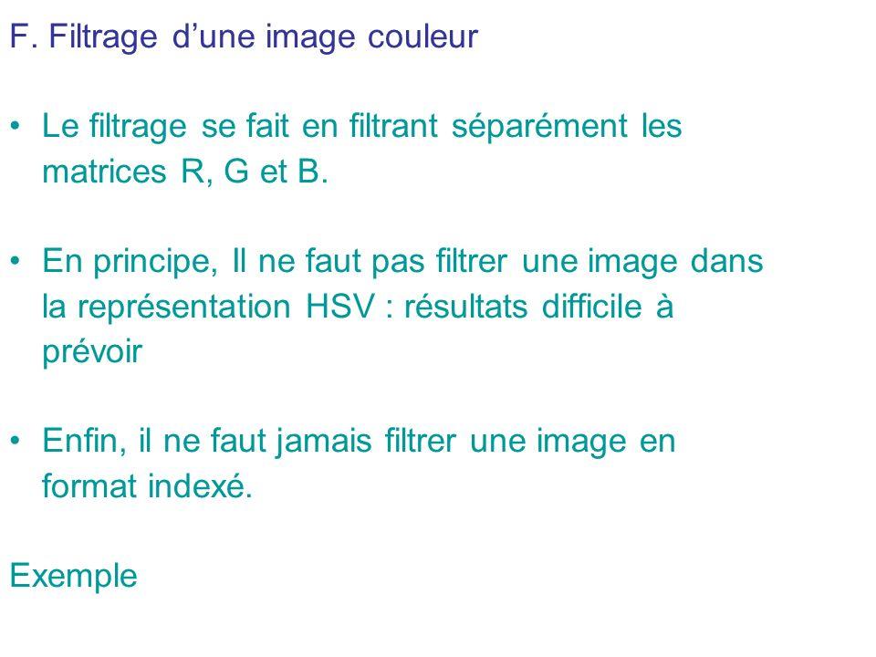 F.Filtrage dune image couleur Le filtrage se fait en filtrant séparément les matrices R, G et B.