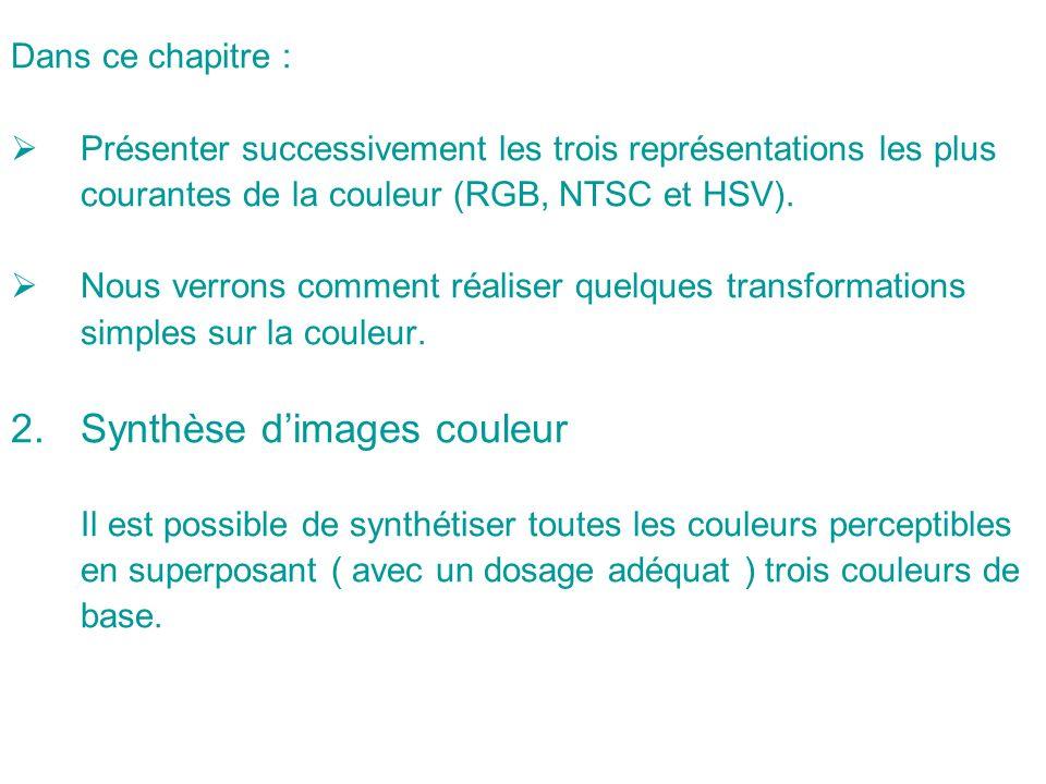 Dans ce chapitre : Présenter successivement les trois représentations les plus courantes de la couleur (RGB, NTSC et HSV).