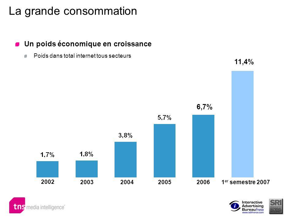 La grande consommation Un poids économique en croissance Poids dans total internet tous secteurs 6,7% 2002 2003200420052006 11,4% 1 er semestre 2007
