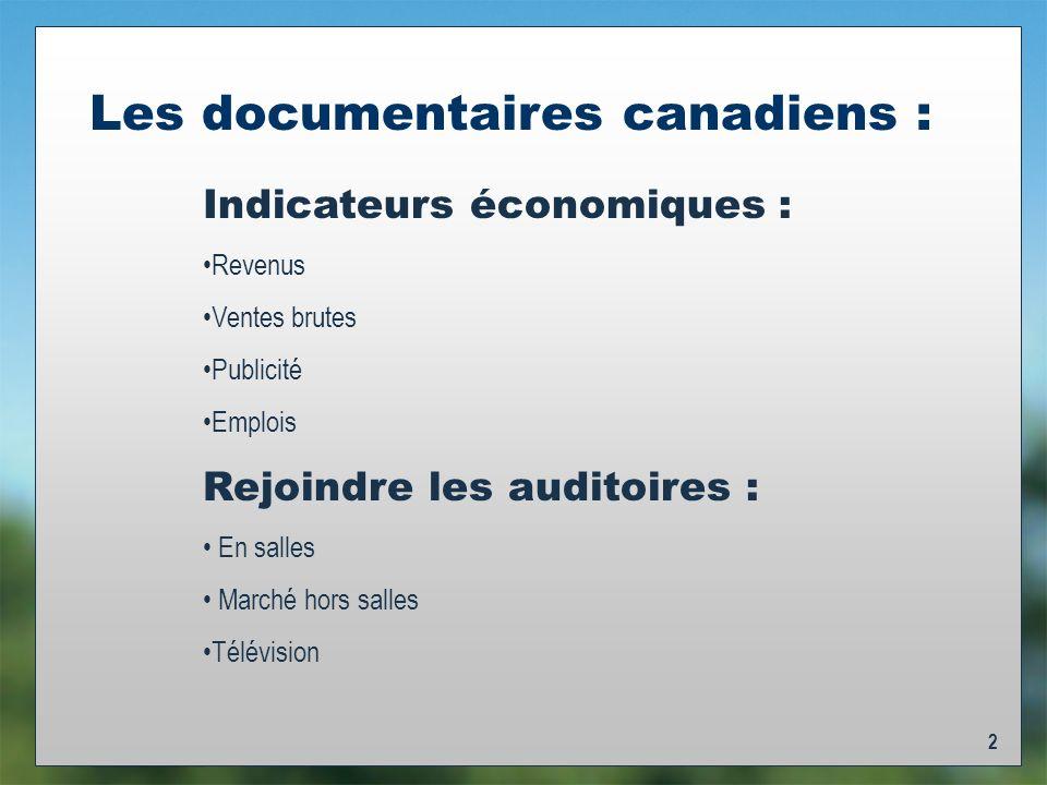 2 Les documentaires canadiens : Indicateurs économiques : Revenus Ventes brutes Publicité Emplois Rejoindre les auditoires : En salles Marché hors salles Télévision