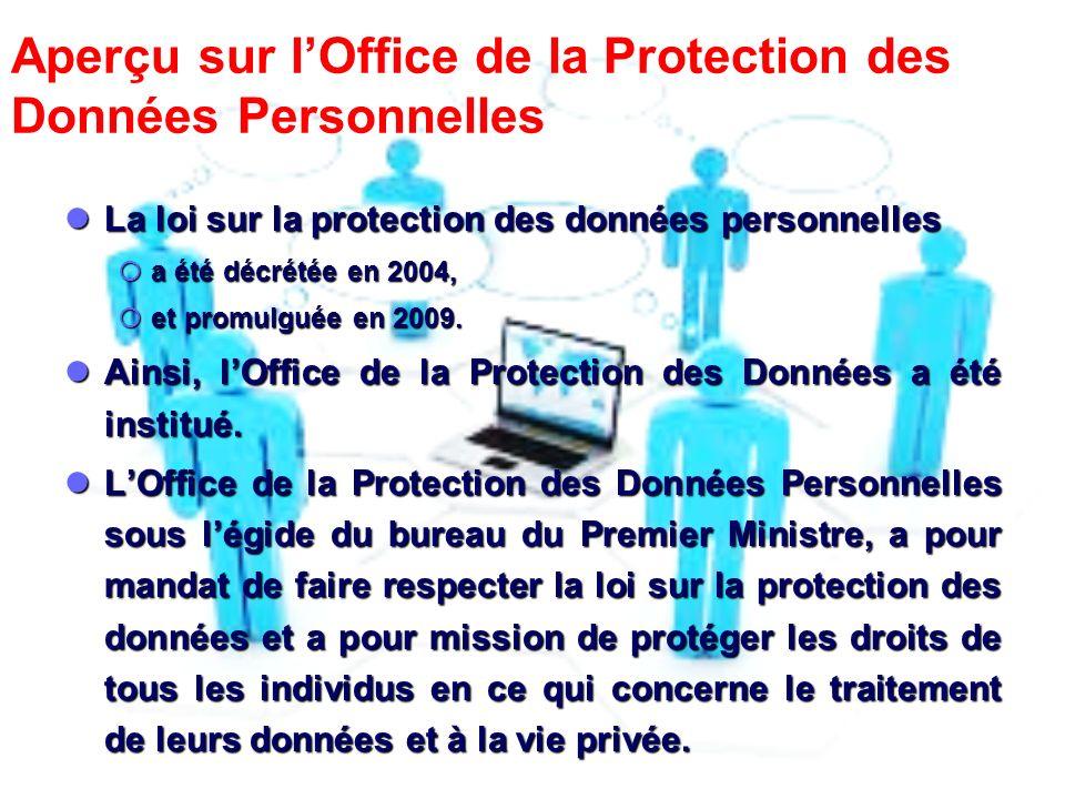 Aperçu sur lOffice de la Protection des Données Personnelles La loi sur la protection des données personnelles La loi sur la protection des données personnelles a été décrétée en 2004, a été décrétée en 2004, et promulguée en 2009.
