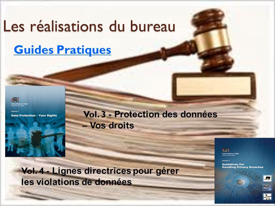 Les réalisations du bureau Guides Pratiques Vol. 3 - Protection des données – Vos droits Vol. 4 - Lignes directrices pour gérer les violations de donn