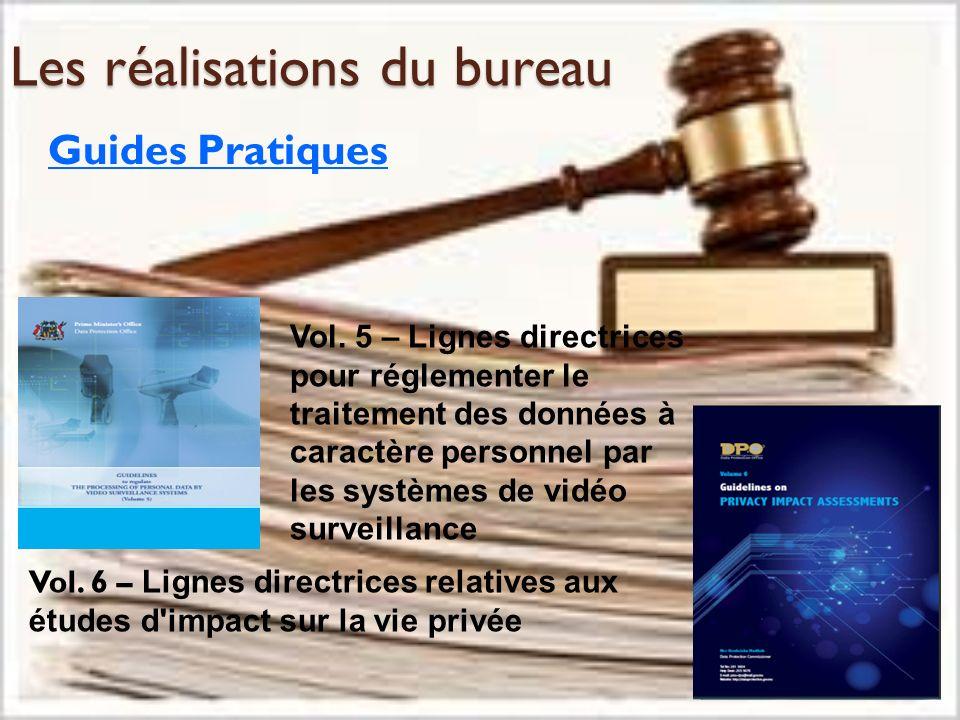 Les réalisations du bureau Guides Pratiques Vol. 6 – Lignes directrices relatives aux études d'impact sur la vie privée Vol. 5 – Lignes directrices po