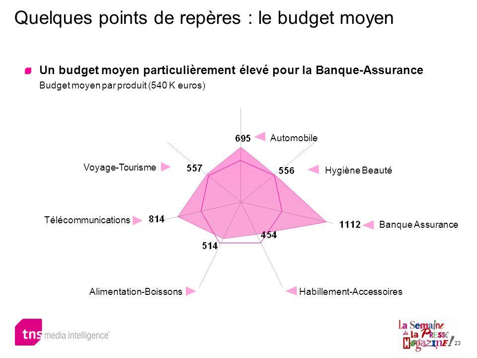 23 Quelques points de repères : le budget moyen Un budget moyen particulièrement élevé pour la Banque-Assurance Budget moyen par produit (540 K euros)
