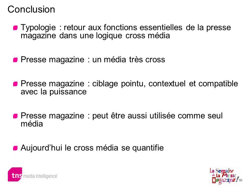 60 Typologie : retour aux fonctions essentielles de la presse magazine dans une logique cross média Presse magazine : un média très cross Presse magaz