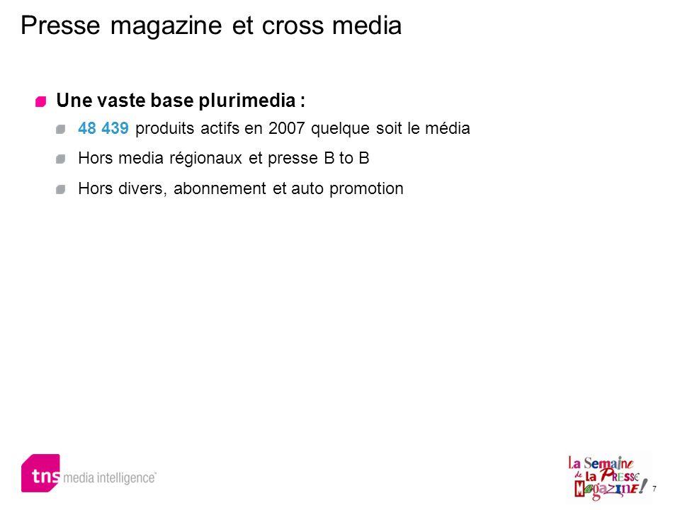 7 Presse magazine et cross media Une vaste base plurimedia : 48 439 produits actifs en 2007 quelque soit le média Hors media régionaux et presse B to