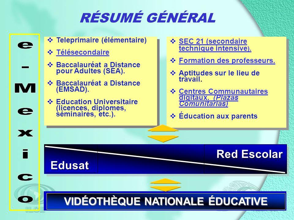 RÉSUMÉ GÉNÉRAL Teleprimaire (élémentaire) Télésecondaire Baccalauréat a Distance pour Adultes (SEA).