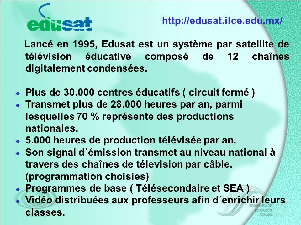 Lancé en 1995, Edusat est un système par satellite de télévision éducative composé de 12 chaînes digitalement condensées.