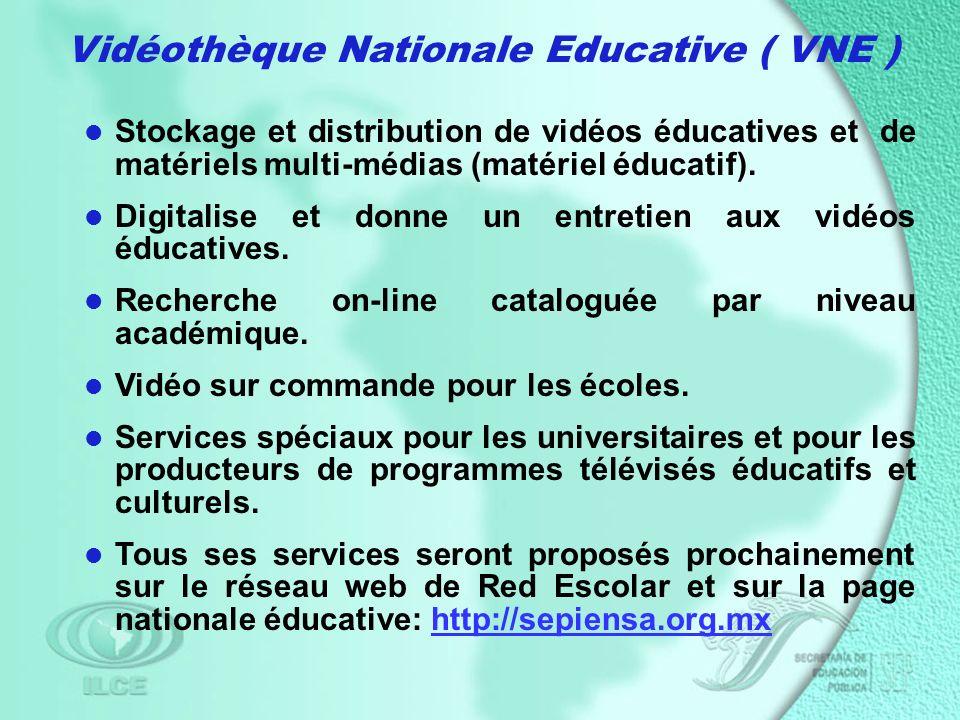 Vidéothèque Nationale Educative ( VNE ) Stockage et distribution de vidéos éducatives et de matériels multi-médias (matériel éducatif).