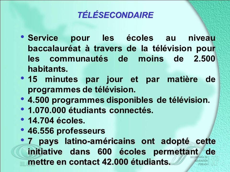 Service pour les écoles au niveau baccalauréat à travers de la télévision pour les communautés de moins de 2.500 habitants.