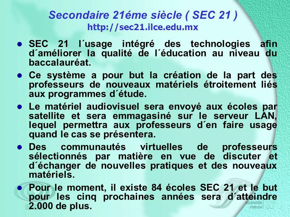 Secondaire 21éme siècle ( SEC 21 ) http://sec21.ilce.edu.mx SEC 21 l´usage intégré des technologies afin d´améliorer la qualité de l´éducation au niveau du baccalauréat.