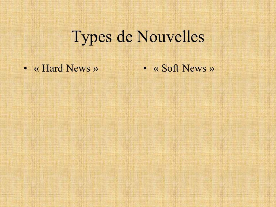 Types de Nouvelles « Hard News »« Soft News »
