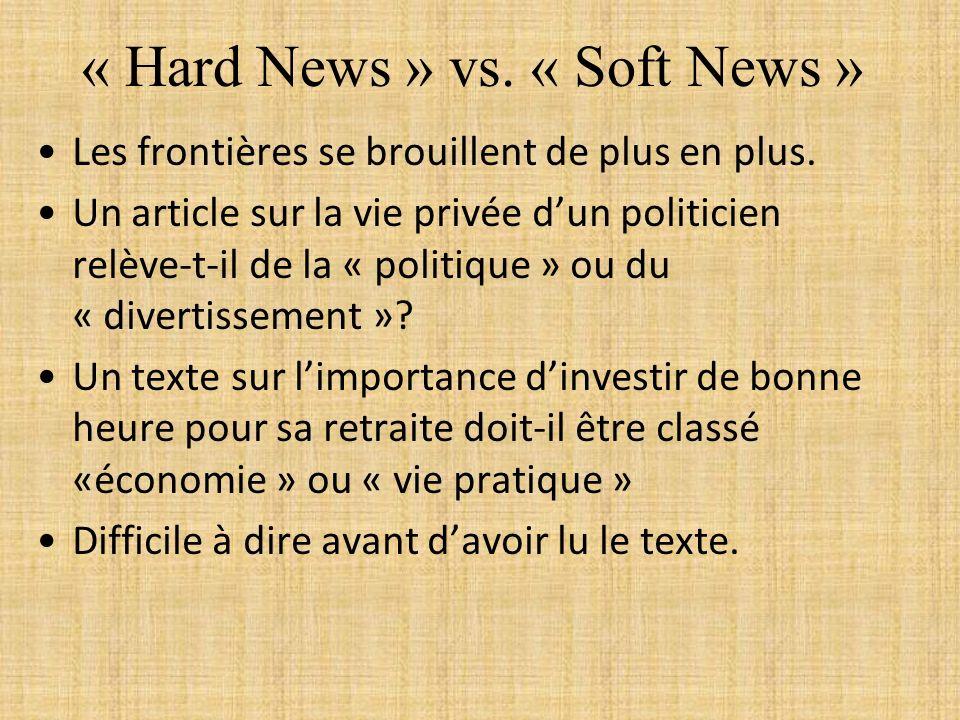 « Hard News » vs. « Soft News » Les frontières se brouillent de plus en plus. Un article sur la vie privée dun politicien relève-t-il de la « politiqu