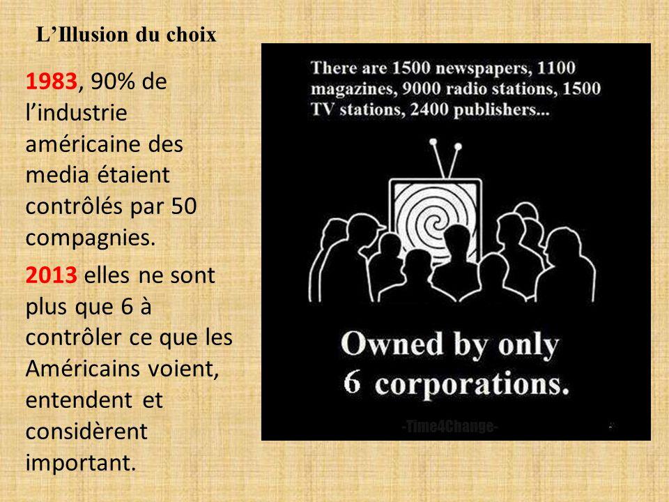 LIllusion du choix 1983, 90% de lindustrie américaine des media étaient contrôlés par 50 compagnies. 2013 elles ne sont plus que 6 à contrôler ce que