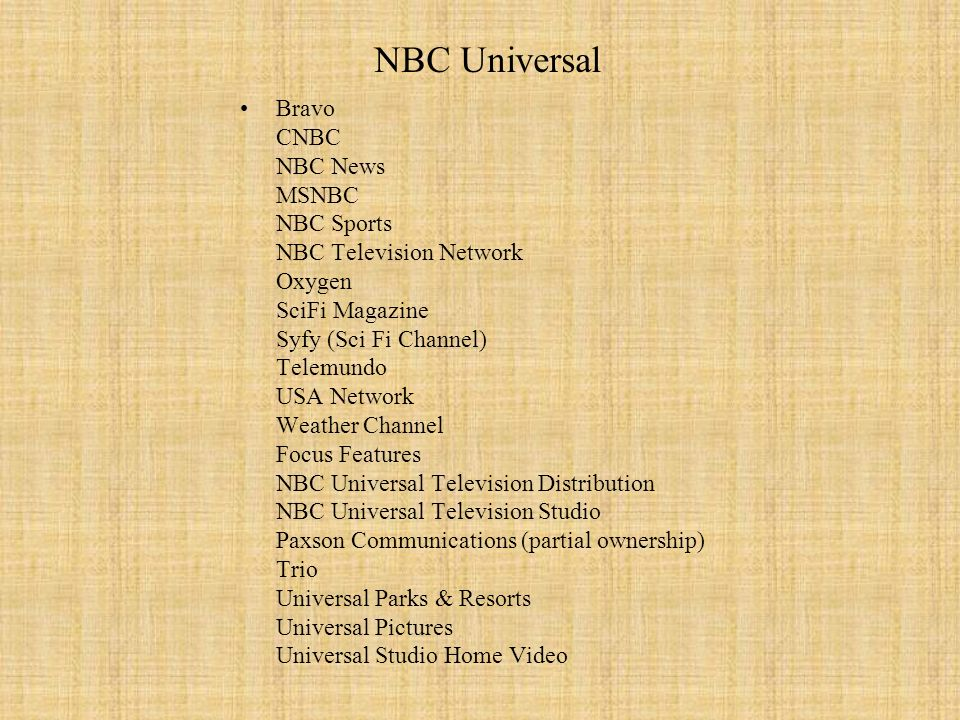 NBC Universal Bravo CNBC NBC News MSNBC NBC Sports NBC Television Network Oxygen SciFi Magazine Syfy (Sci Fi Channel) Telemundo USA Network Weather Ch