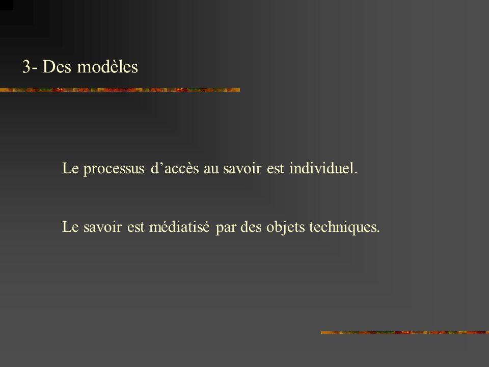 Le processus daccès au savoir est individuel. Le savoir est médiatisé par des objets techniques.