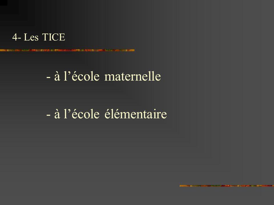 4- Les TICE - à lécole maternelle - à lécole élémentaire