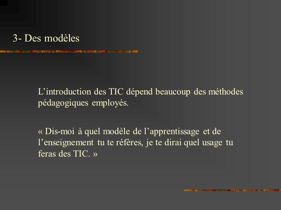 3- Des modèles Lintroduction des TIC dépend beaucoup des méthodes pédagogiques employés.