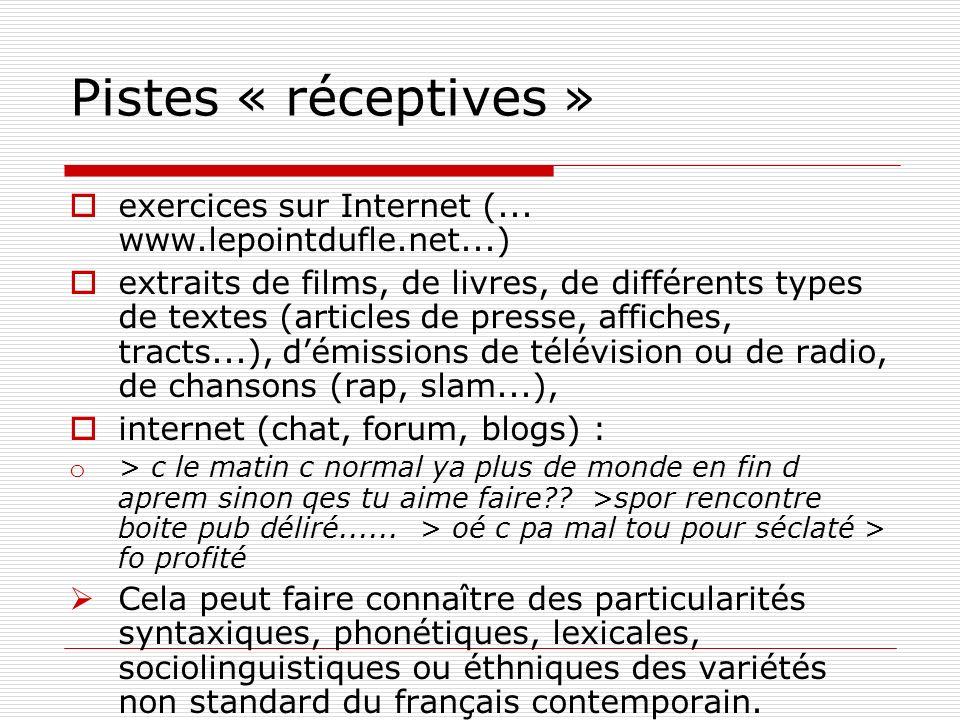 Pistes « réceptives » exercices sur Internet (... www.lepointdufle.net...) extraits de films, de livres, de différents types de textes (articles de pr