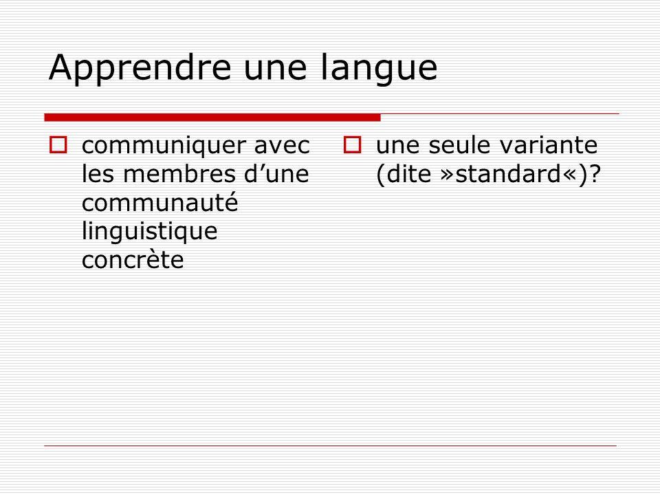Apprendre une langue communiquer avec les membres dune communauté linguistique concrète une seule variante (dite »standard«)?