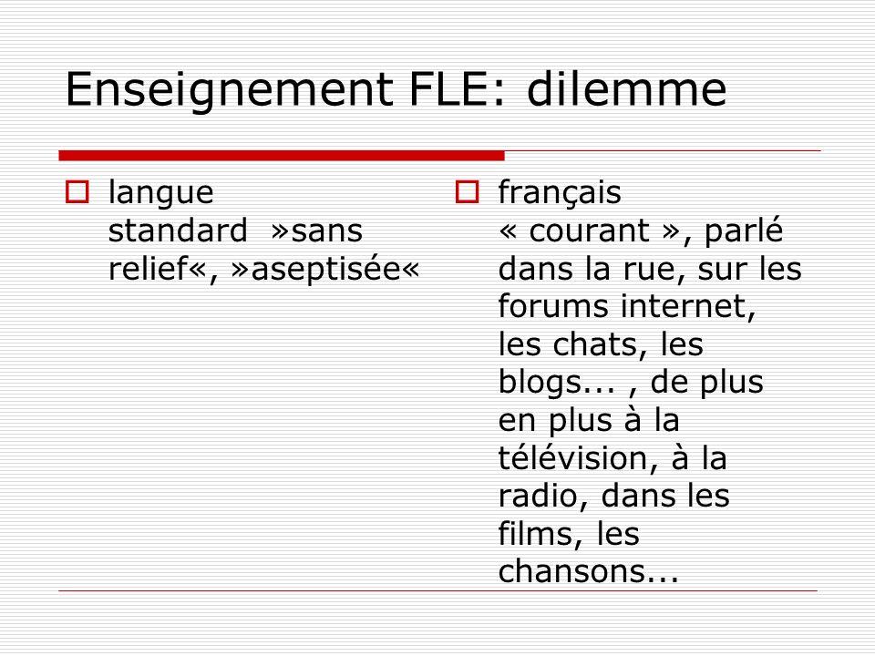 Enseignement FLE: dilemme langue standard »sans relief«, »aseptisée« français « courant », parlé dans la rue, sur les forums internet, les chats, les