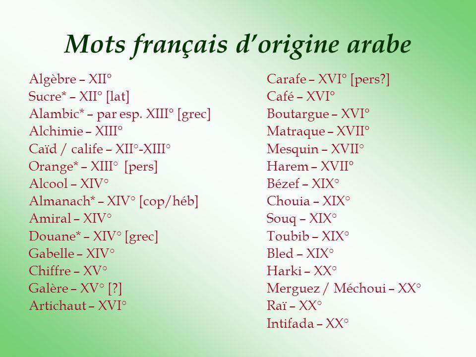 Mots français dorigine arabe Algèbre – XII°Carafe – XVI° [pers?] Sucre* – XII° [lat]Café – XVI° Alambic* – par esp. XIII° [grec]Boutargue – XVI° Alchi