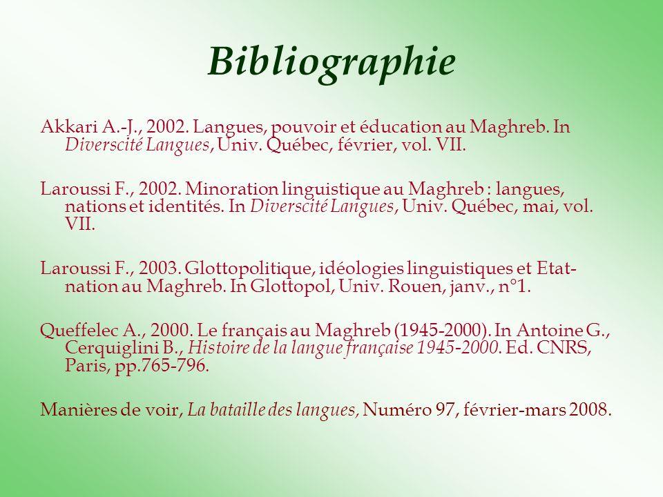 Bibliographie Akkari A.-J., 2002. Langues, pouvoir et éducation au Maghreb. In Diverscité Langues, Univ. Québec, février, vol. VII. Laroussi F., 2002.