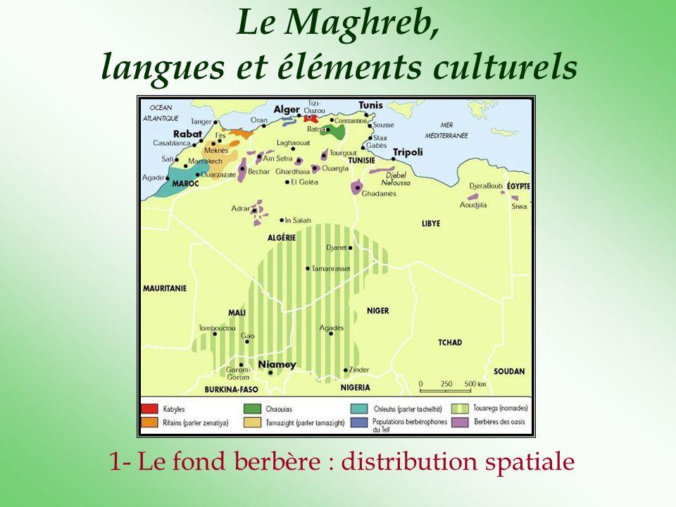 Le Maghreb, langues et éléments culturels 1- Le fond berbère : distribution spatiale