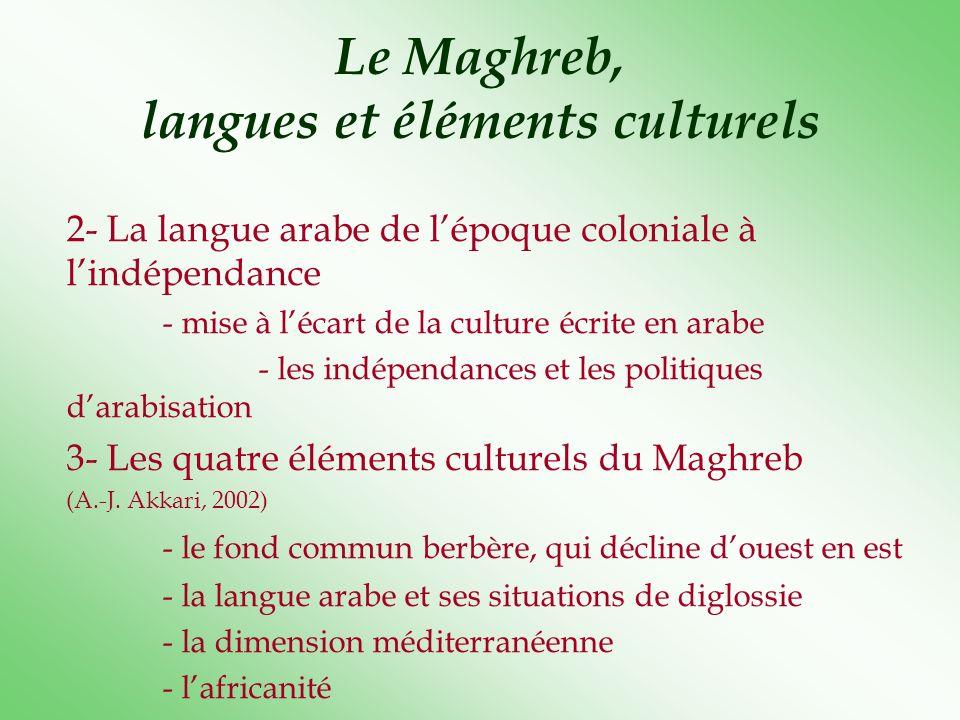 Le Maghreb, langues et éléments culturels 2- La langue arabe de lépoque coloniale à lindépendance - mise à lécart de la culture écrite en arabe - les