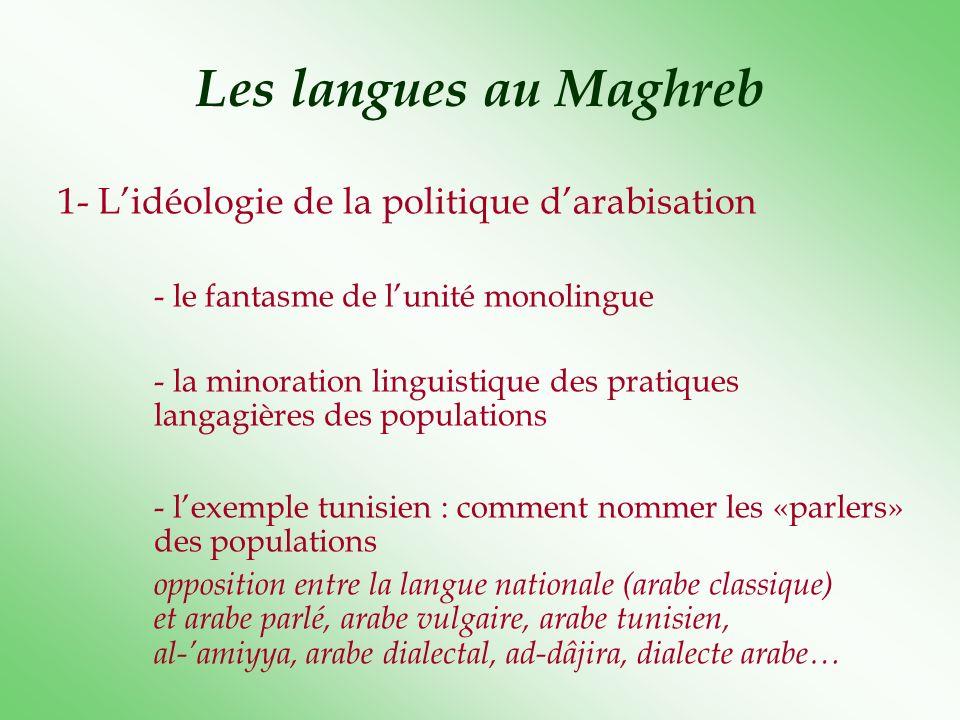 Les langues au Maghreb 1- Lidéologie de la politique darabisation - le fantasme de lunité monolingue - la minoration linguistique des pratiques langag