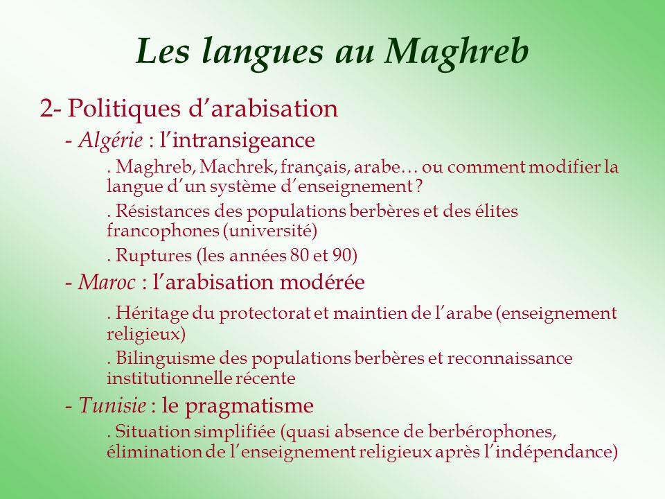 Les langues au Maghreb 2- Politiques darabisation - Algérie : lintransigeance. Maghreb, Machrek, français, arabe… ou comment modifier la langue dun sy
