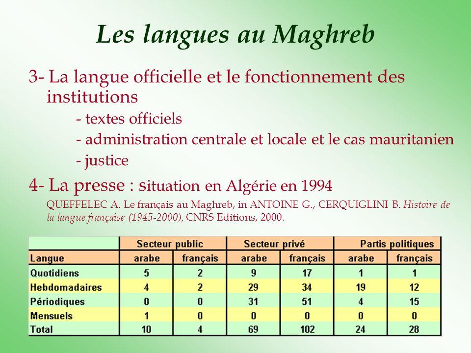Les langues au Maghreb En 1997, en Algérie, 134 publications en français sur 237 au total, au Maroc, 144 titres français sur 262, toutefois, le tirage total des quotidiens arabes au Maroc arrive à 110.000 exemplaires, pour 100.000 pour les quotidiens francophones.
