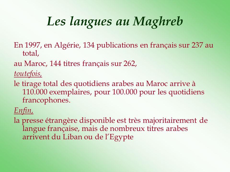 Les langues au Maghreb En 1997, en Algérie, 134 publications en français sur 237 au total, au Maroc, 144 titres français sur 262, toutefois, le tirage