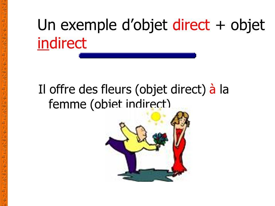Un exemple dobjet direct + objet indirect Il offre des fleurs (objet direct) à la femme (objet indirect)