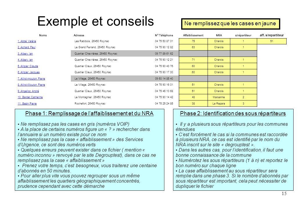 15 Exemple et conseils Phase 1: Remplissage de laffaiblissement et du NRA Ne remplissez pas les cases en gris (numéros VOIP) A la place de certains nu