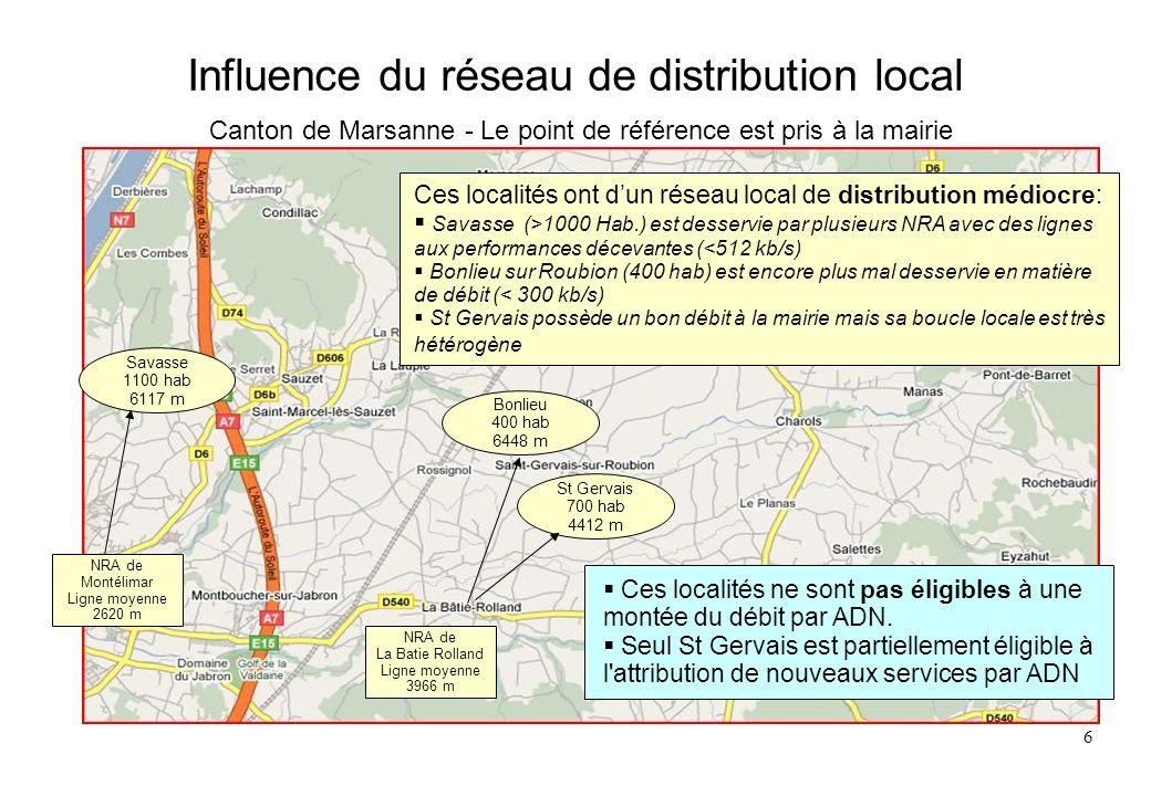 7 Influence de la position du NRA Canton de Marsanne - Le point de référence est pris à la mairie NRA de Charols Ligne moyenne 5183 m La localisation du NRA de Charols est très pénalisante: la plus grande longueur moyenne de ligne de la Drôme des communes importantes excentrées des mairies à plus de 6000 m de ce NRA soit 7 à 8000 mètres pour leurs administrés Roynac 500 hab 6600 m Puy-St-Martin 900 hab 6095 m Pont-de-Barret 380 hab 4882 m Ces localités ne sont pas éligibles à : une montée du débit par ADN l attribution de nouveaux services par ADN Manas 130 hab 4649 m