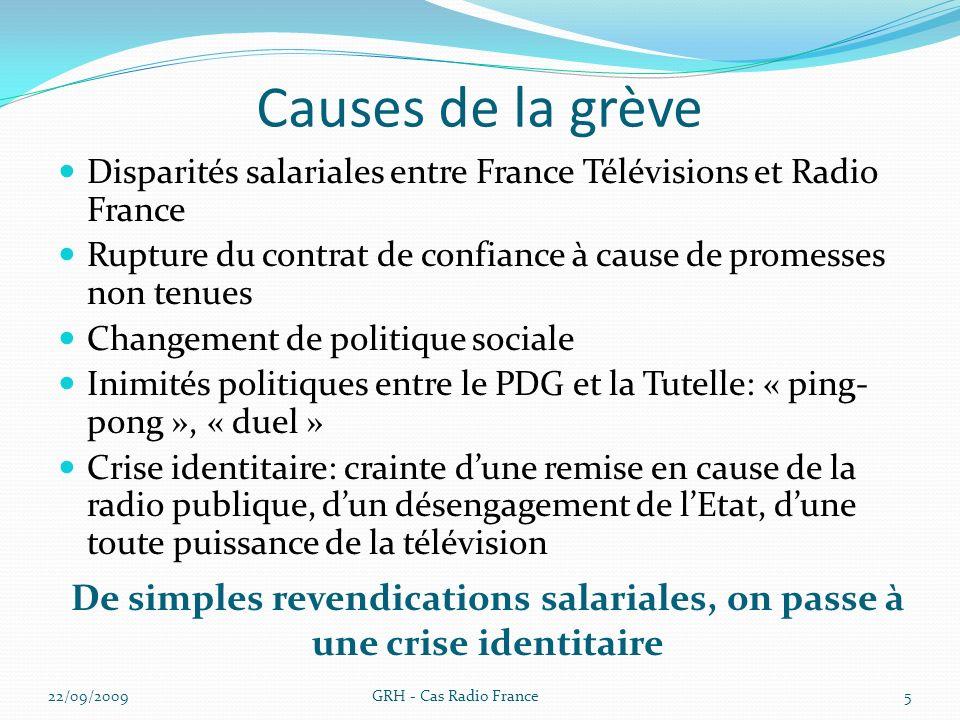 Causes de la grève Disparités salariales entre France Télévisions et Radio France Rupture du contrat de confiance à cause de promesses non tenues Chan