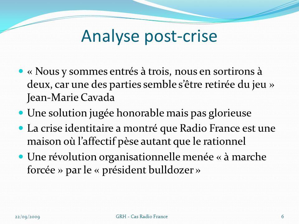Analyse post-crise « Nous y sommes entrés à trois, nous en sortirons à deux, car une des parties semble sêtre retirée du jeu » Jean-Marie Cavada Une s