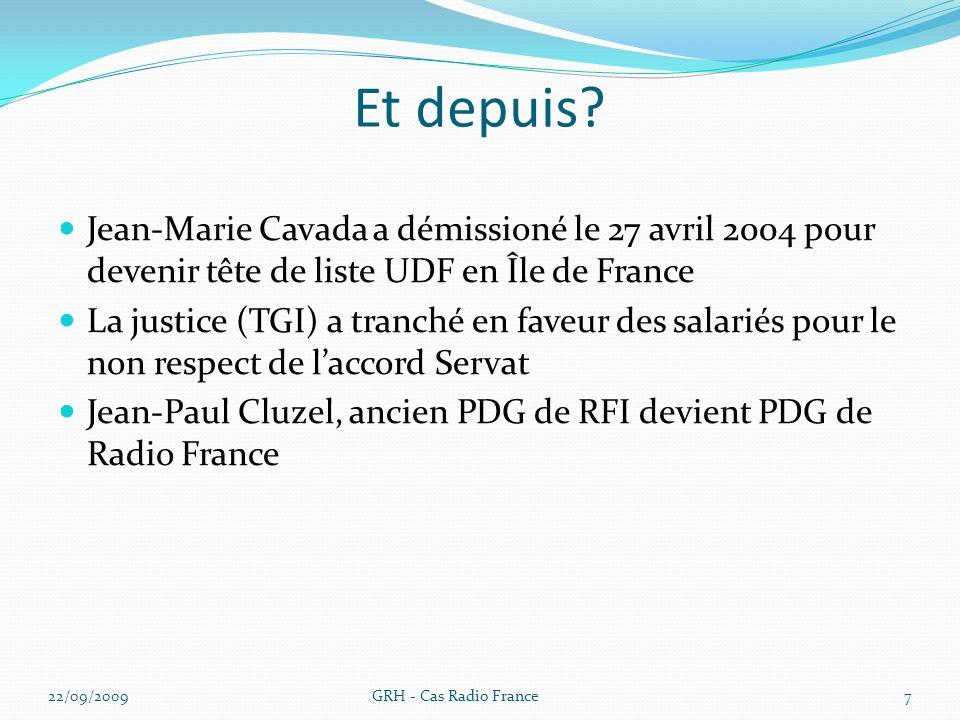 Et depuis? Jean-Marie Cavada a démissioné le 27 avril 2004 pour devenir tête de liste UDF en Île de France La justice (TGI) a tranché en faveur des sa