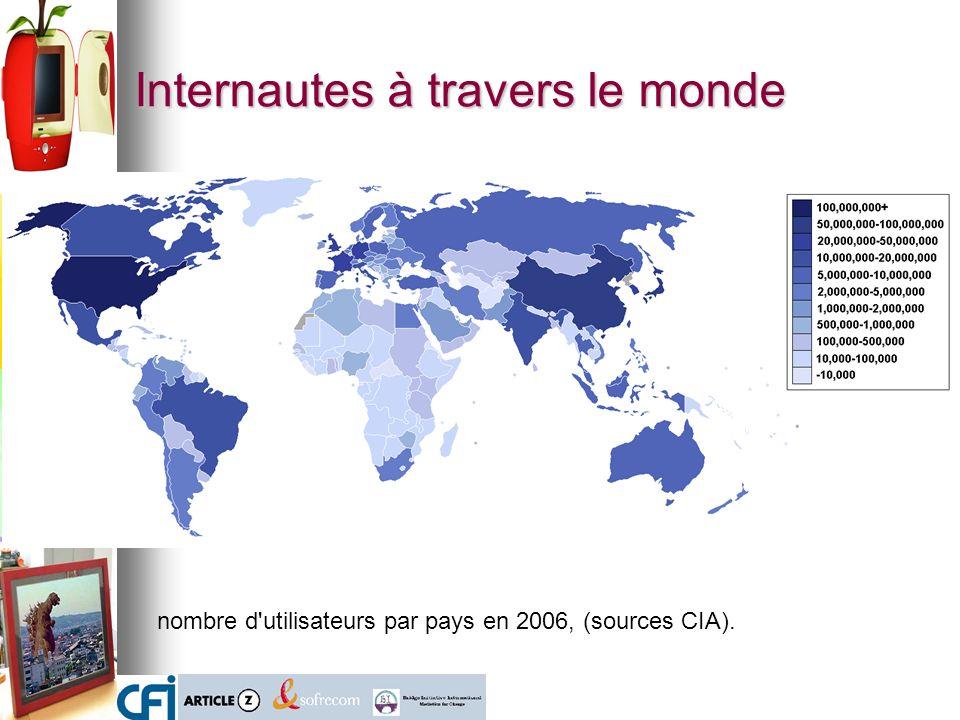 Internautes à travers le monde nombre d utilisateurs par pays en 2006, (sources CIA).