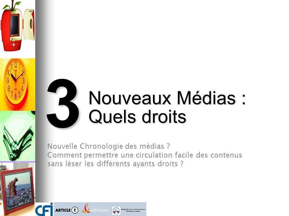 3 Nouveaux Médias : Quels droits Nouvelle Chronologie des médias ? Comment permettre une circulation facile des contenus sans léser les différents aya