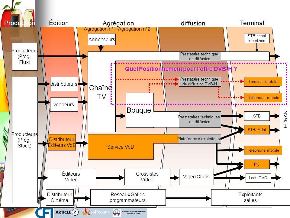 ECRAN Chaîne TV Producteurs (Prog. Stock) Bouquet Production distributeurs Agrégation n°1Agrégation n°2 Agrégationdiffusion Annonceurs Édition vendeur