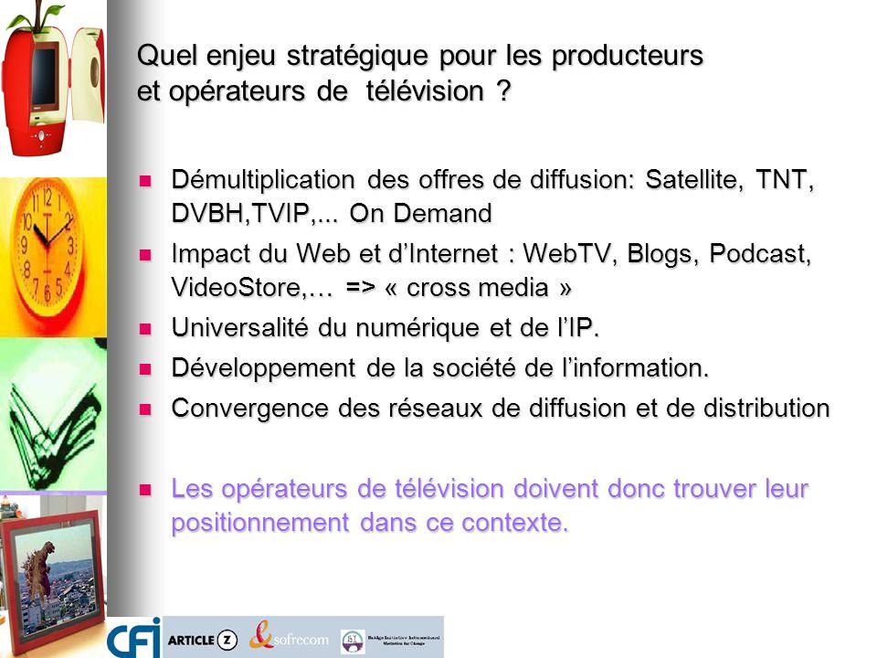 Démultiplication des offres de diffusion: Satellite, TNT, DVBH,TVIP,... On Demand Démultiplication des offres de diffusion: Satellite, TNT, DVBH,TVIP,