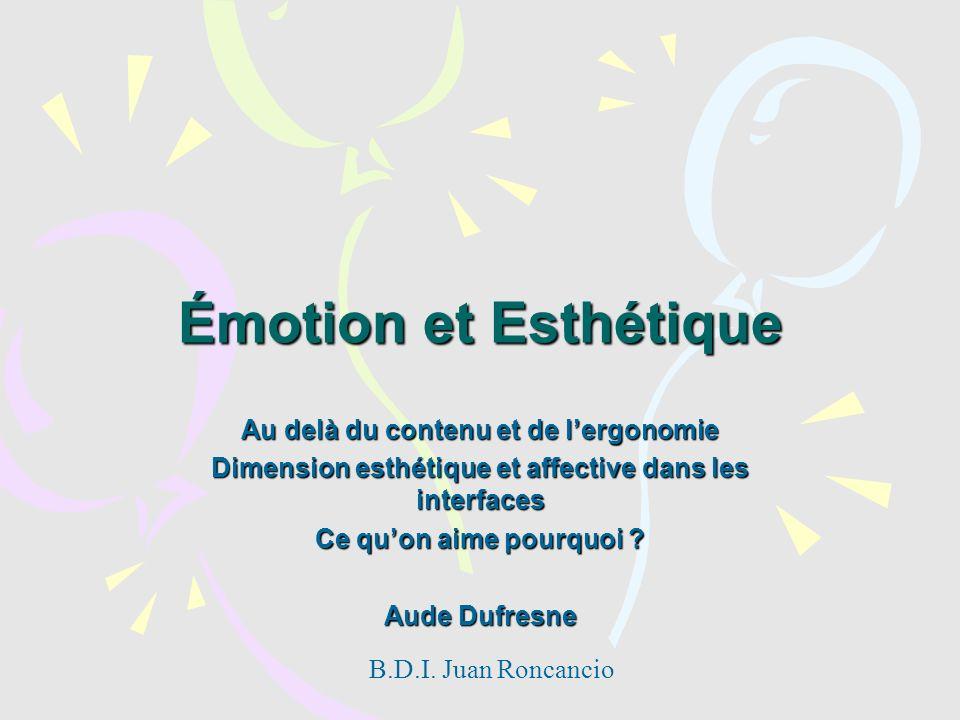 Émotion et Esthétique Au delà du contenu et de lergonomie Dimension esthétique et affective dans les interfaces Ce quon aime pourquoi ? Aude Dufresne