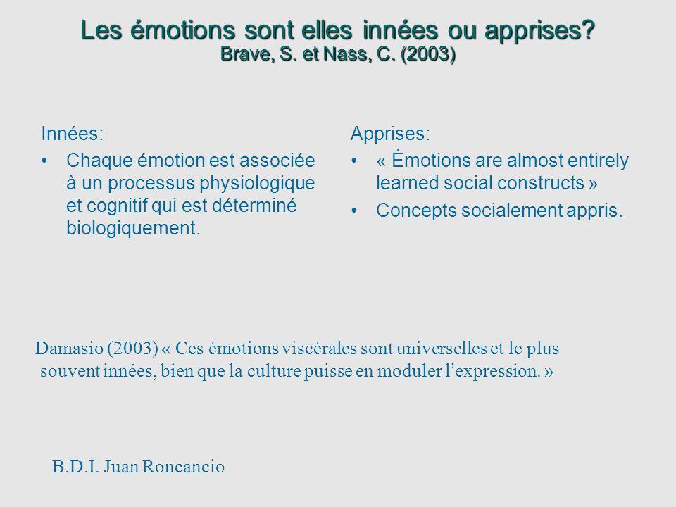 Les émotions sont elles innées ou apprises? Brave, S. et Nass, C. (2003) Innées: Chaque émotion est associée à un processus physiologique et cognitif