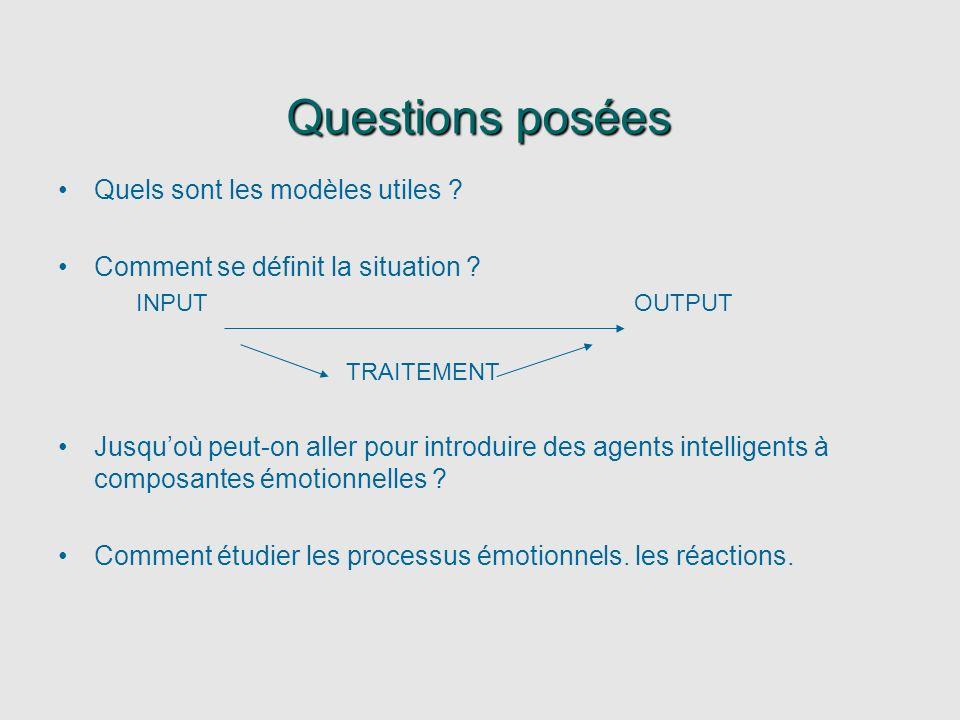 Questions posées Quels sont les modèles utiles ? Comment se définit la situation ? INPUT OUTPUT TRAITEMENT Jusquoù peut-on aller pour introduire des a