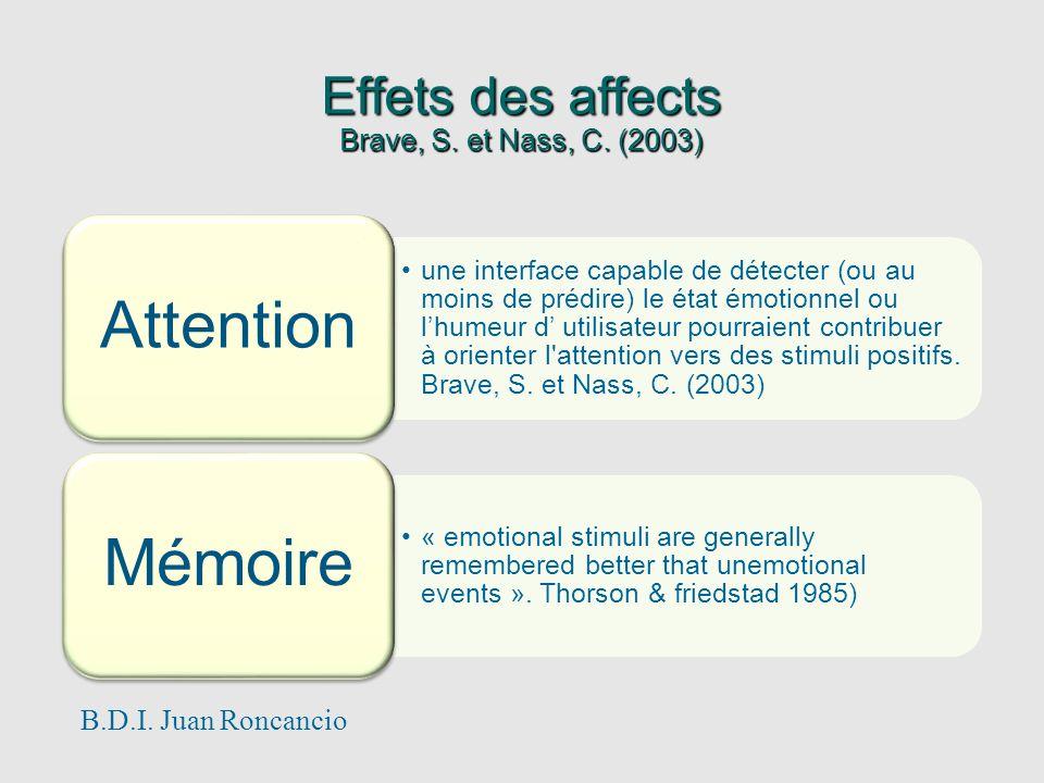 Effets des affects Brave, S. et Nass, C. (2003) une interface capable de détecter (ou au moins de prédire) le état émotionnel ou lhumeur d utilisateur