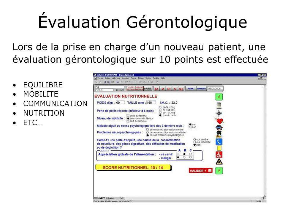 Évaluation Gérontologique Lors de la prise en charge dun nouveau patient, une évaluation gérontologique sur 10 points est effectuée EQUILIBRE MOBILITE COMMUNICATION NUTRITION ETC…